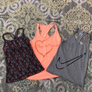 Lot of 3 Small tanks! Nike & fabletics included!